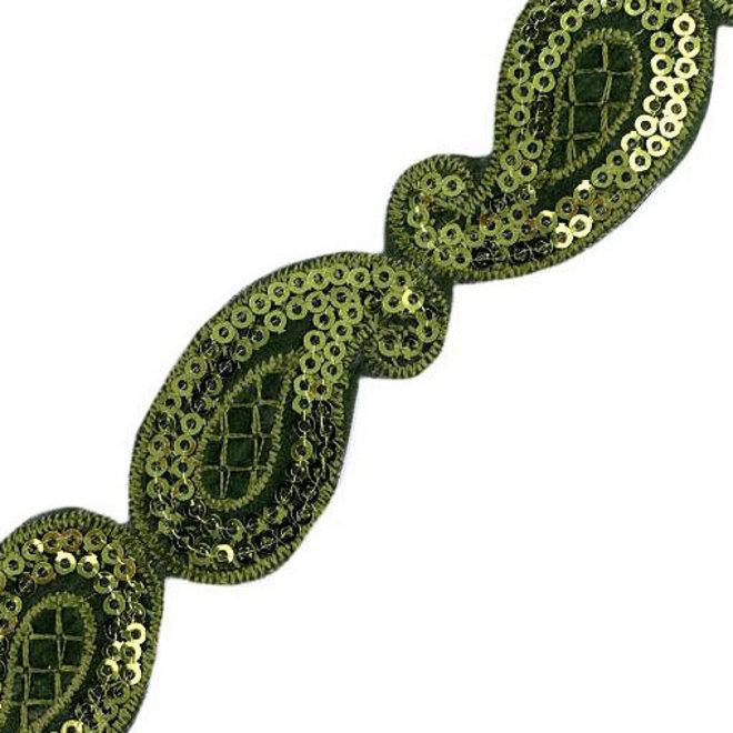 Indische Paillettenborte Grün