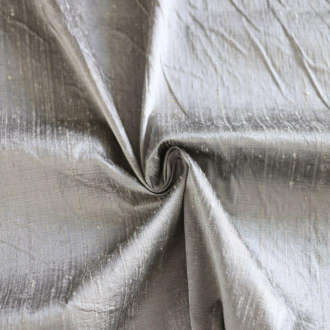Dupion-Seide in Silber