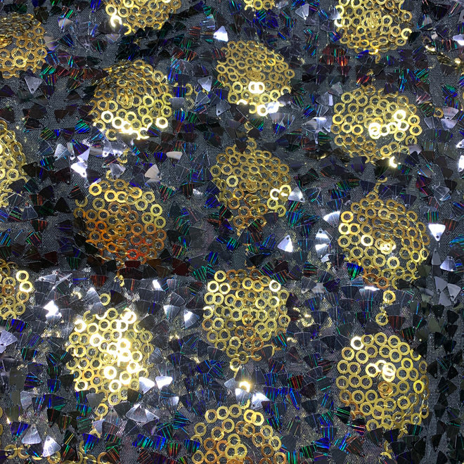 Paillettenstoff Schwarz m. Gold
