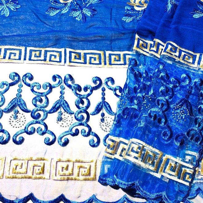 Indischer Schal bestickt in Blau