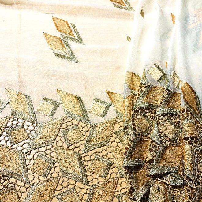 Indischer Schal bestickt in Creme