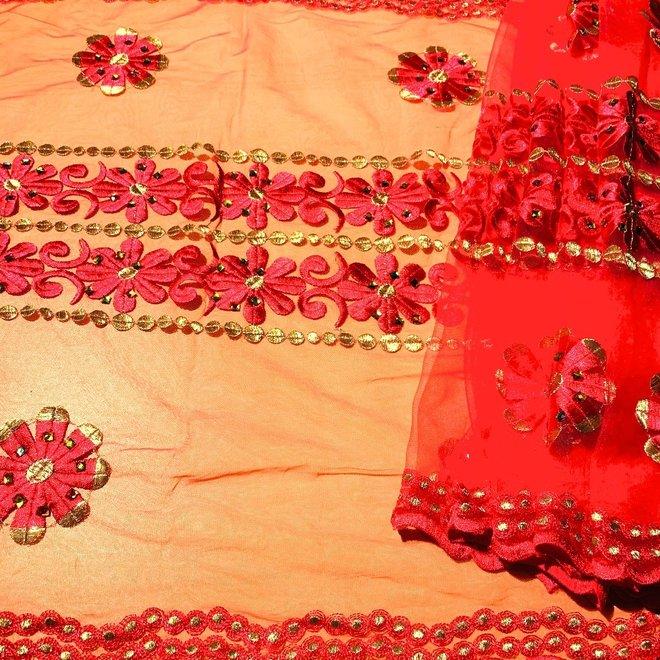 Indischer Schal bestickt in Rot