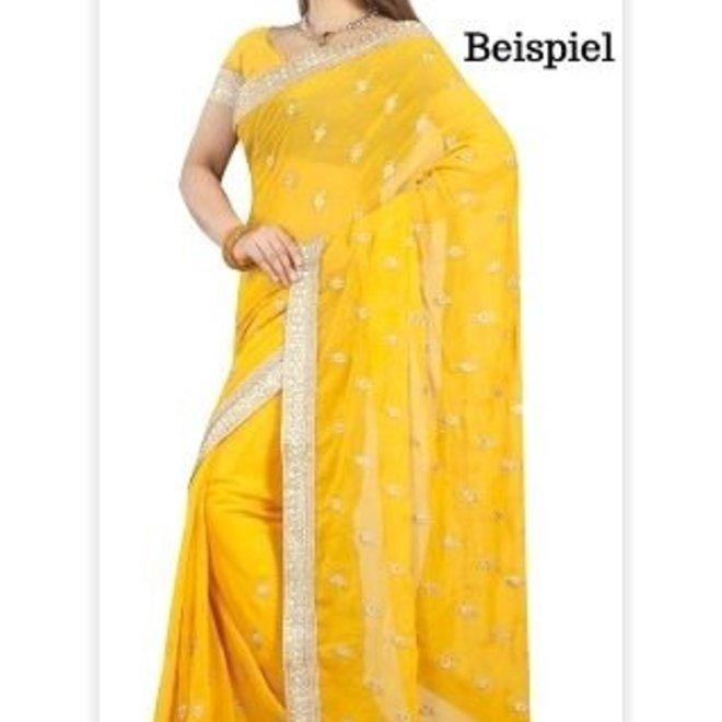 Eleganter Chiffon Sari in Gelb