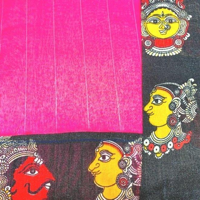 Sari Poly-Baumwolle in Pink