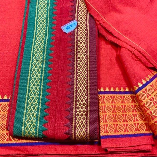 Sari Baumwolle in Rot