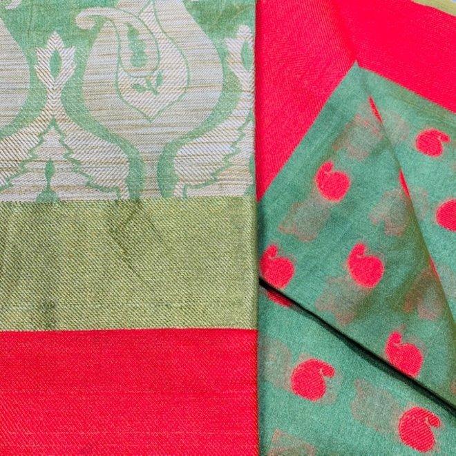 Sari Seidengemisch in Grün