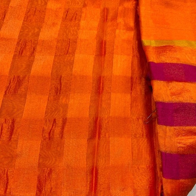 Sari Baumwolle In Orange, Pink