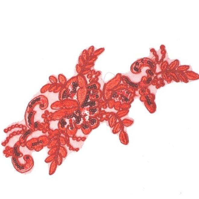 Spitzenapplikation in Rot