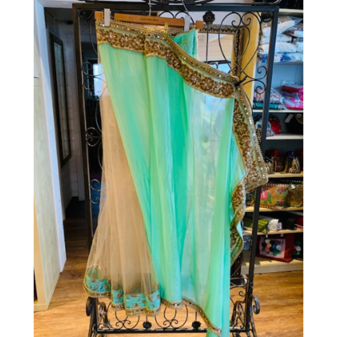 Eleganter Lehenga Sari in Hellgrün