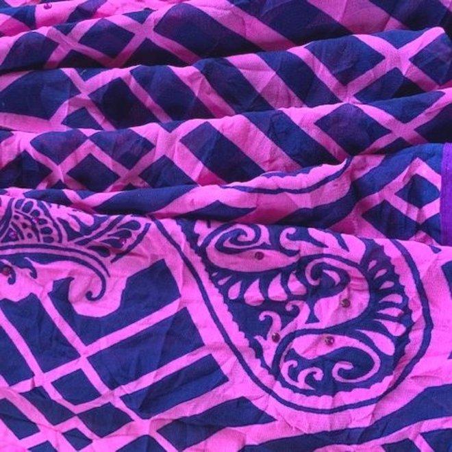 Sari Chiffon Pink-Blau