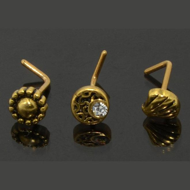 Nasenpiercing Muschel in Gold
