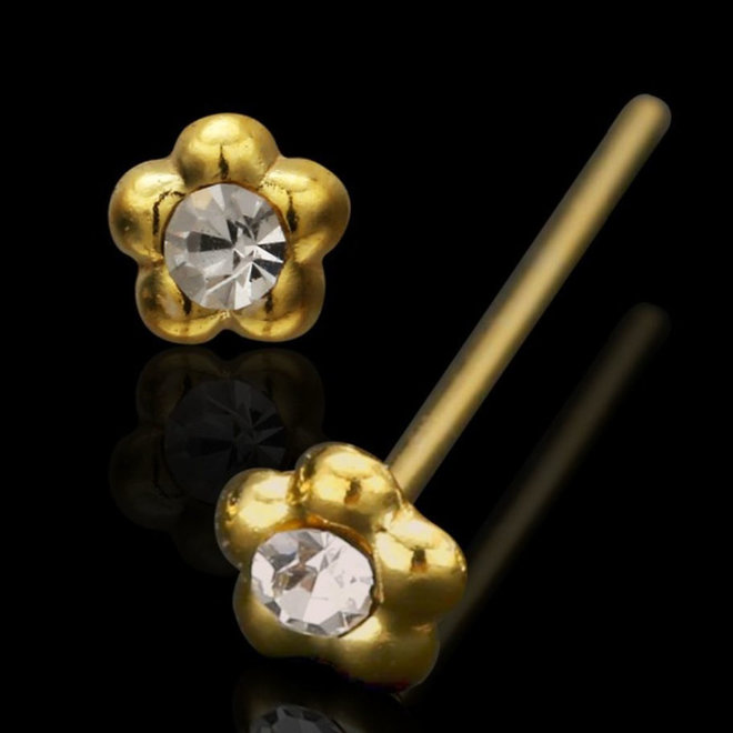 Nasenpiercing Blume in Gold