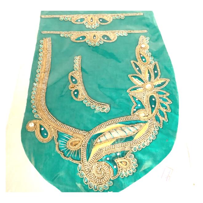 Indische Ausschnitt-/Kragen-Applikation Grün