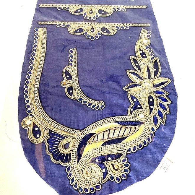 Indische Ausschnitt-/Kragen-Applikation Blau