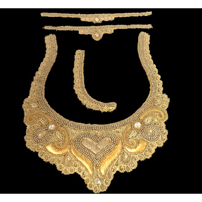 Indische Ausschnitt-/Kragen-Applikation Gold