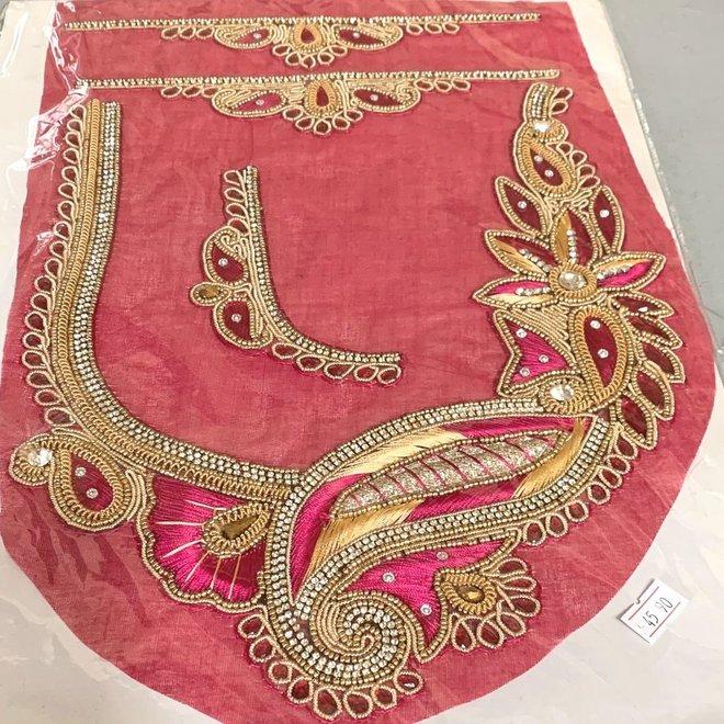 Indische Ausschnitt-/Kragen-Applikation Pink
