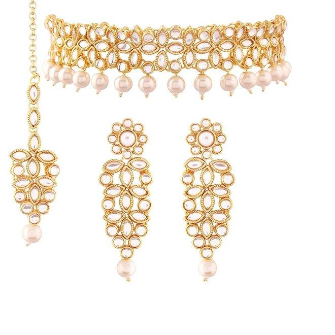 Indisches Schmuckset in Gold  mit Perlen