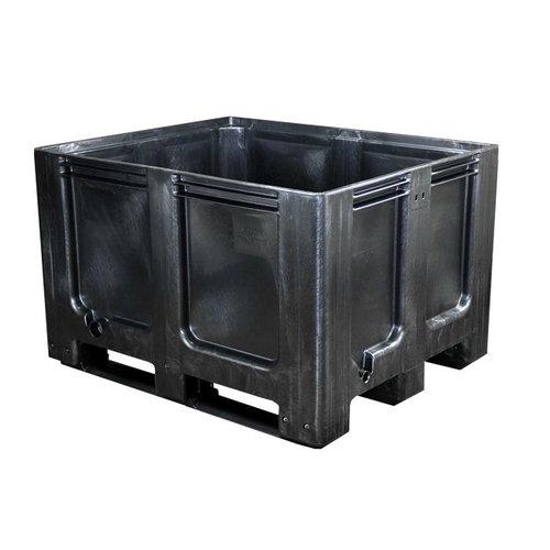 Kunststof recyclaat palletbox 1200x1000x760mm, 3 sledes, gesloten