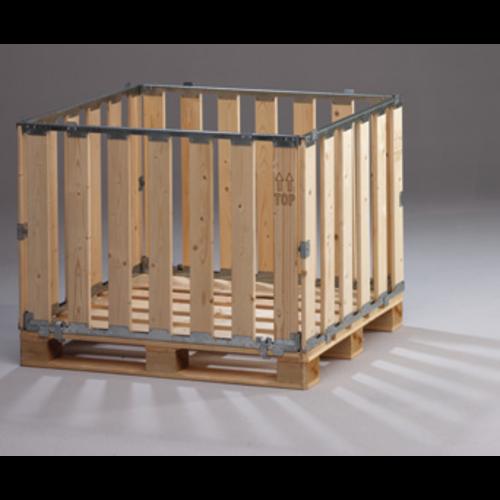 Palletbox MPBOX 1200x1000x800mm, hout, demontabel