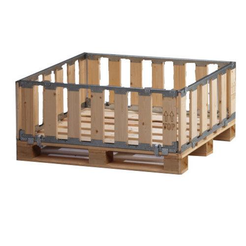 Palletbox MPBOX 1200x1000x400mm, hout, demontabel