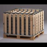 Palletbox MPBOX 1200x1000x800mm, hout, demontabel met half-scharnierbaar klapraam
