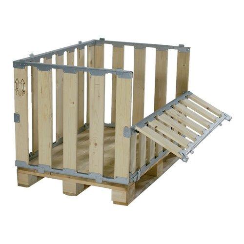 Palletbox MPBOX 1200x800x700mm, hout, demontabel met half-scharnierbaar klapraam