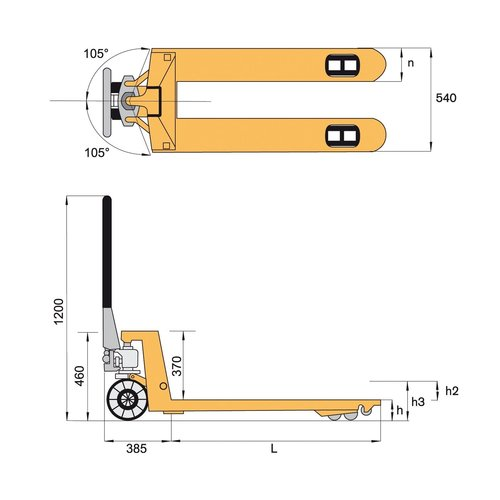 Palletwagen 1150x540mm, 2500 kg, quicklift