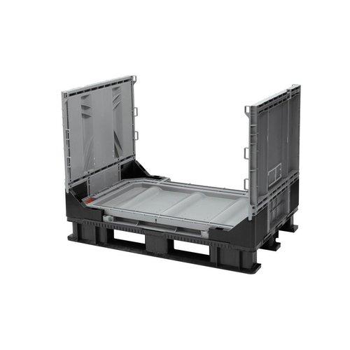 Palletbox 1211x811x902mm, 590 liter kunststof, inklapbaar