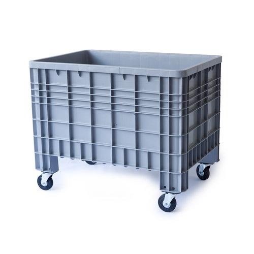 Kunststof palletbox 1200x800x950mm, 4 wielen, gesloten