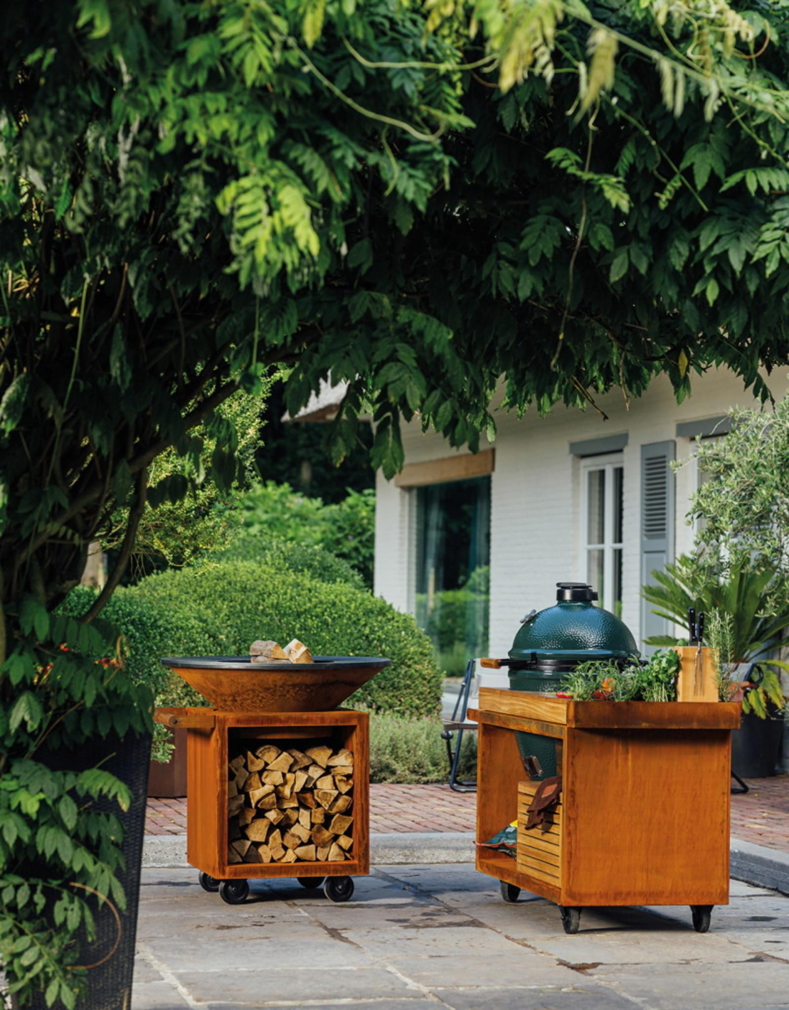 OFYR Kamado Table Corten PRO Teak Wood BGE