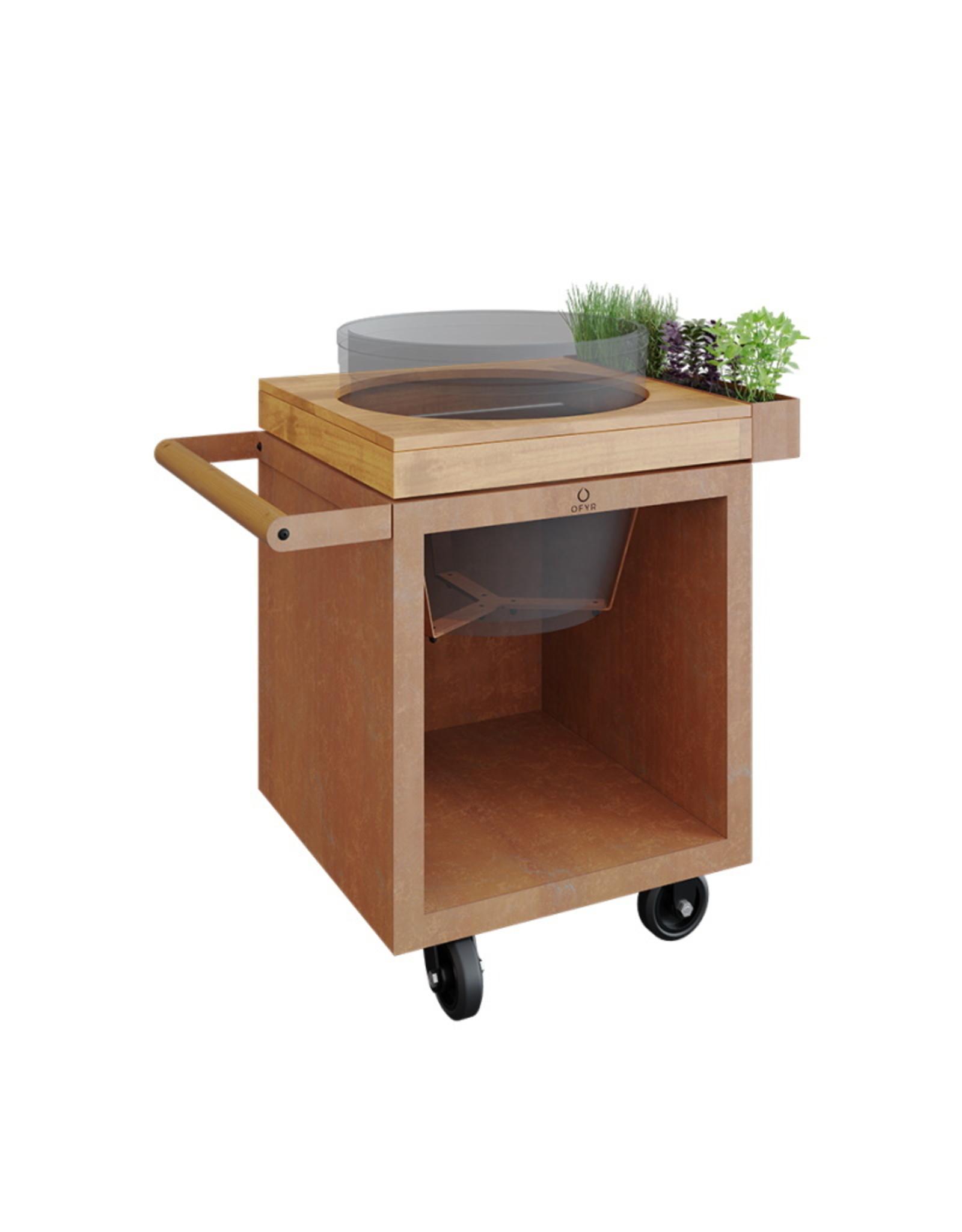 OFYR Kamado Table Corten 65 PRO Teak Wood BGE