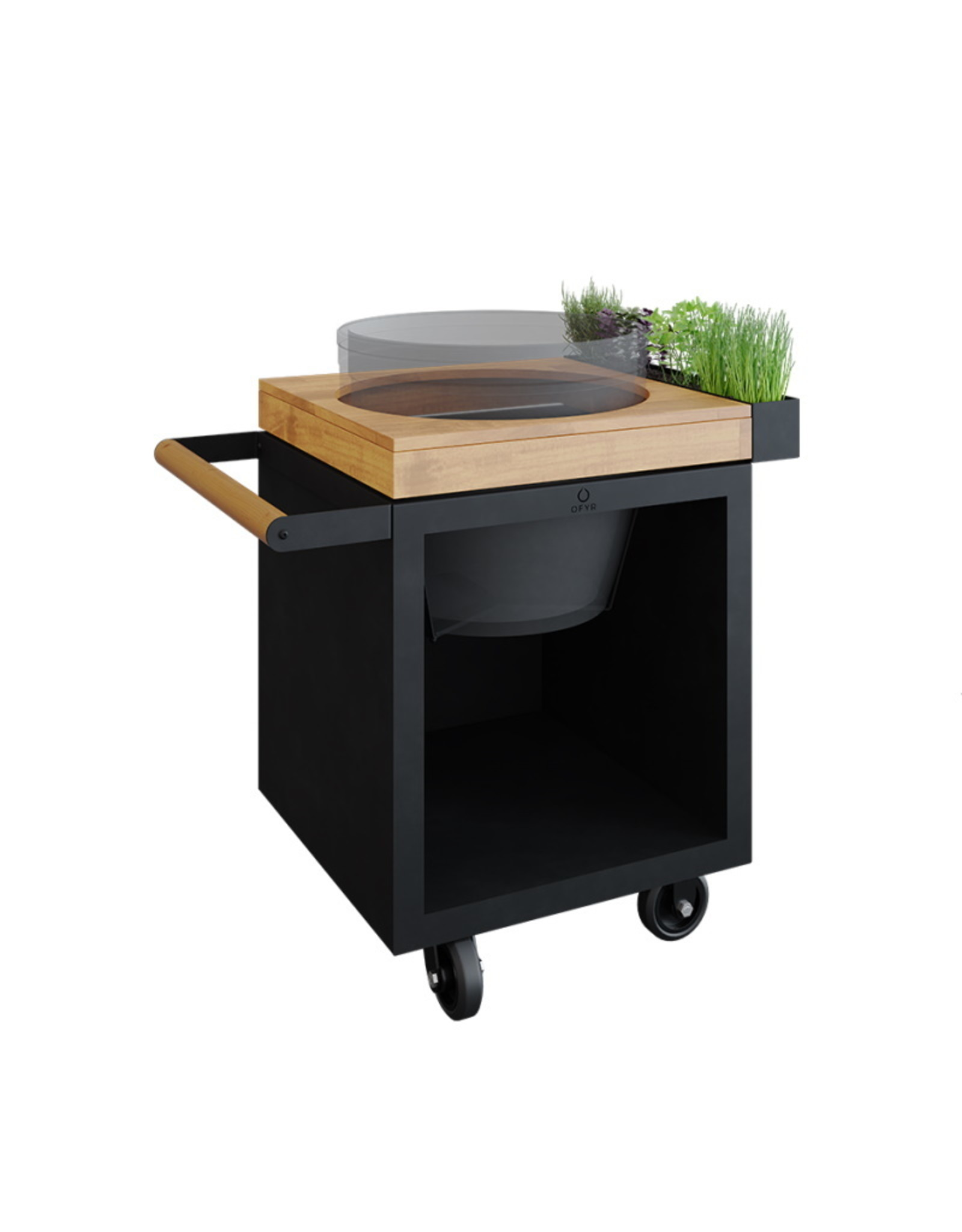 OFYR Kamado Table Black 65 PRO Teak Wood BGE