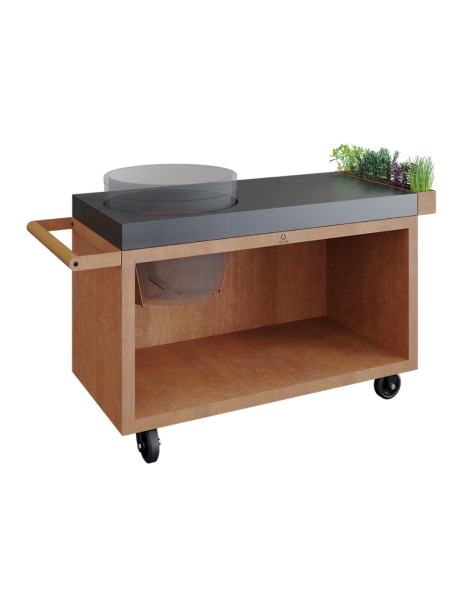 OFYR Kamado Table Corten 135 PRO Concrete BGE