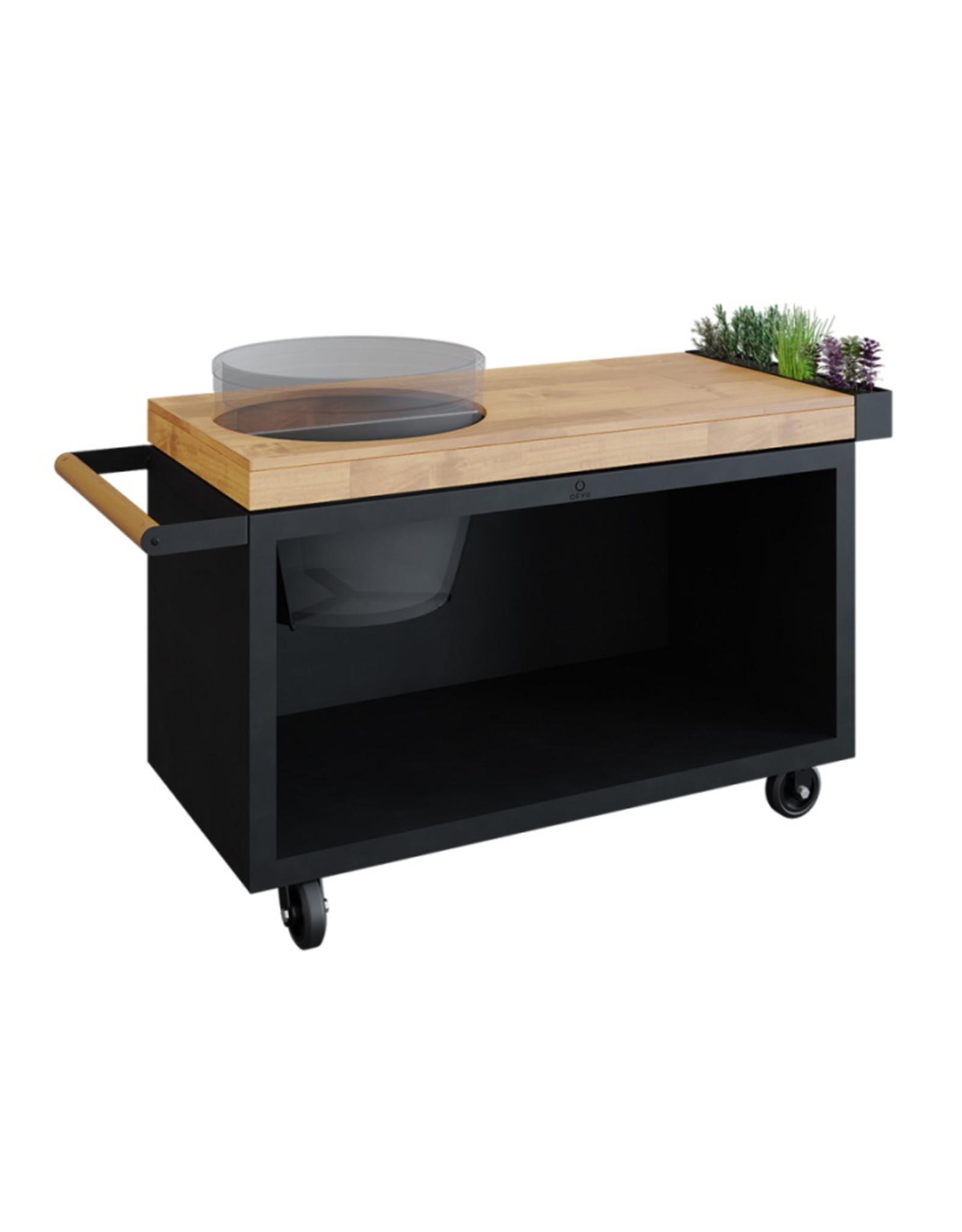 OFYR Kamado Table Black 135 PRO Teak Wood BGE