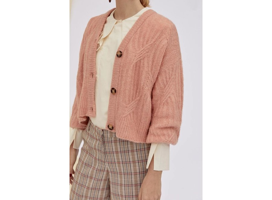 Pixie knit cardigan Yas coral pink