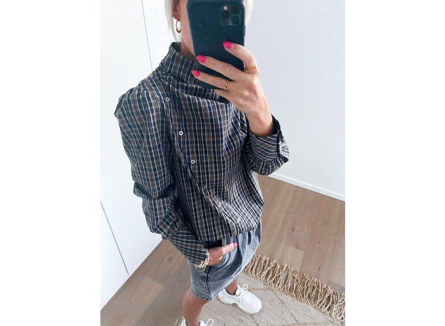 Scot neckerchief check blouse
