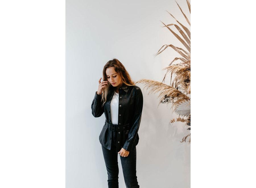 Kylie leather shirt black