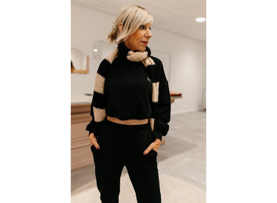 Sjaal duo zwart /beige