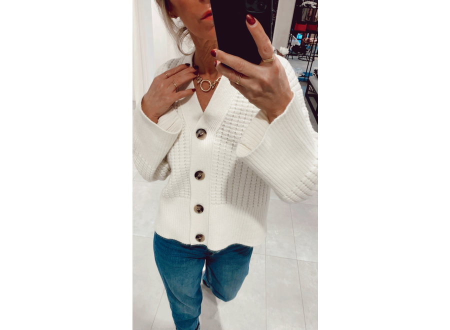 Frame Longsleeve Knit Cardigan Color White