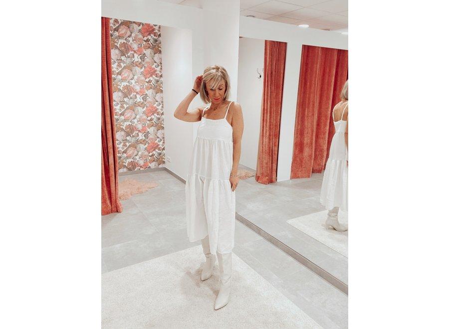 Janna Strap Midi Dress Color White