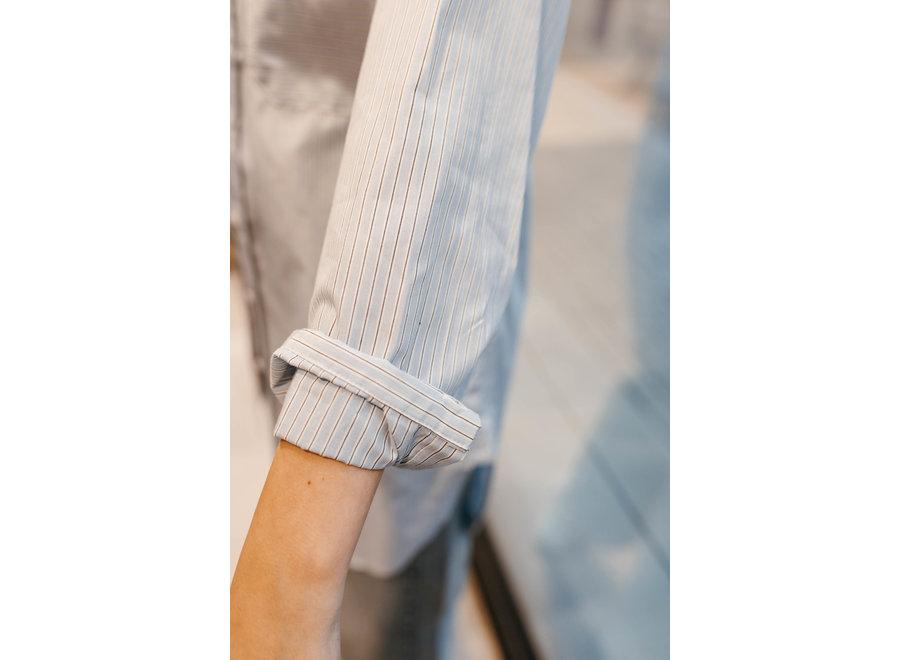 Brissa Abbey Shirt Color Blue White Black Stripe