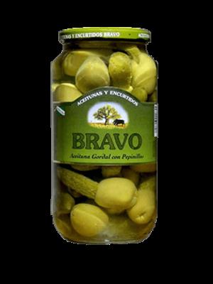 """Bravo Bravo """"Kimbos"""" Gordal Oliven mit Essiggurke gefüllt"""
