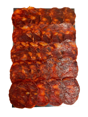 La Hoja del Carrasco Chorizo 100% Ibérico Bellota, 100g geschnitten