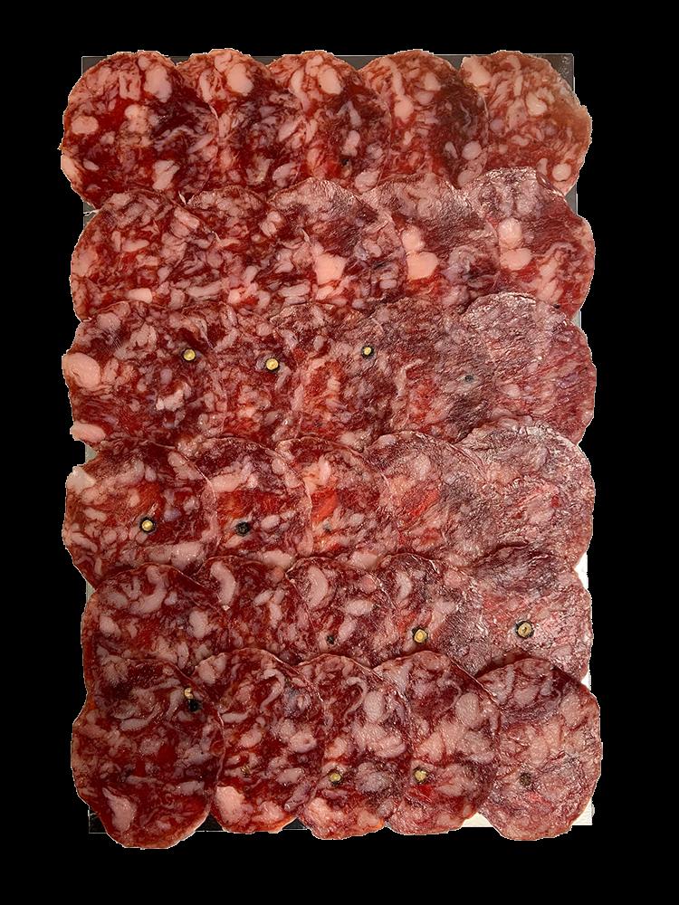 La Hoja del Carrasco Salchichón 100% Ibérico Bellota, 100g geschnitten