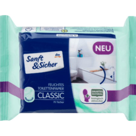 Sanft&Sicher Sanft&Sicher Vochtig Toiletpapier Classic Sensitive Navulpak 70 stuks