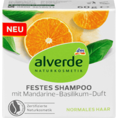 alverde alverde Vaste Shampoo met Mandarijn- en Basilicumgeur 60 g