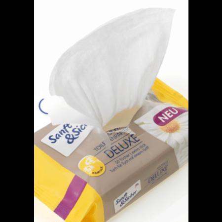 Sanft&Sicher Sanft&Sicher Vochtig Toiletpapier Deluxe Kamille Navulverpakking 50 stuks