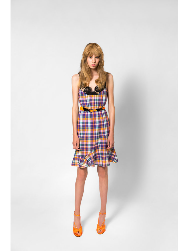 SIS by Spijkers en Spijkers plaid cocktail dress with lace