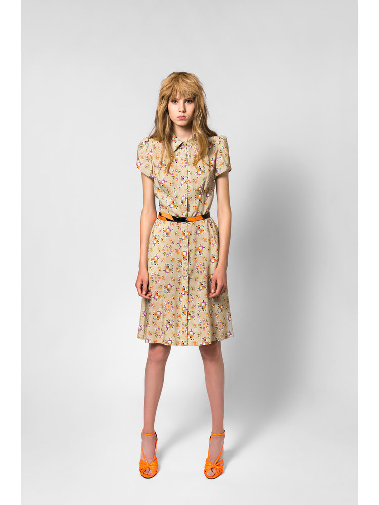 SIS by Spijkers en Spijkers fitted  summer dress with print and short sleeve