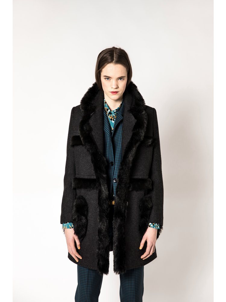 jacket with wool and vegan fur